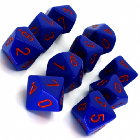 Purple & Red Opaque D10 Ten Sided Dice Set